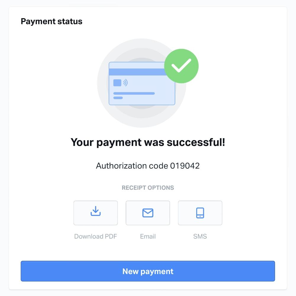 SumUp Virtual Terminal payment successful
