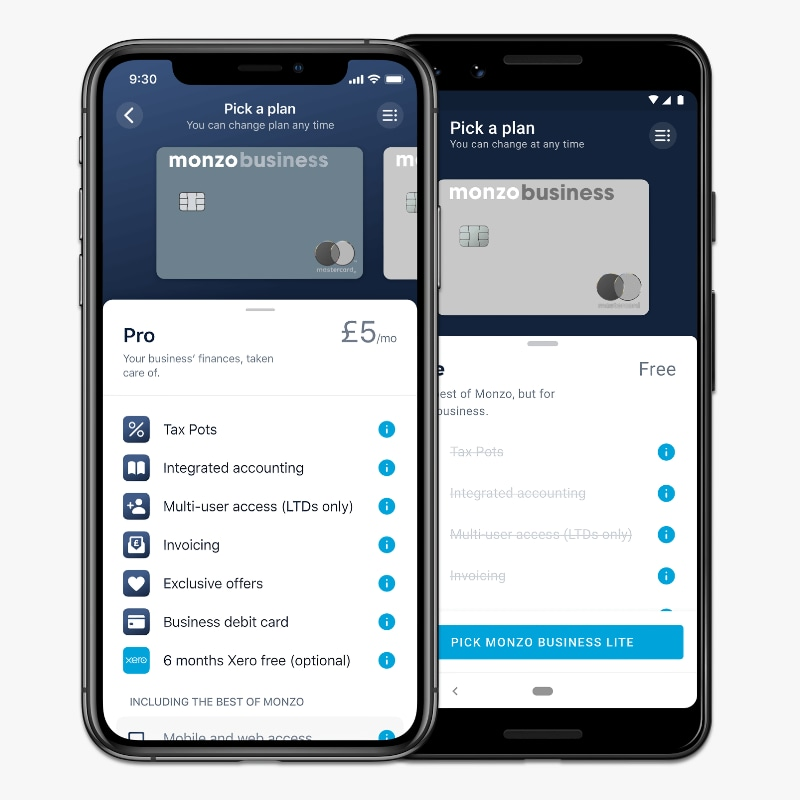 Monzo Business Free vs Pro plans