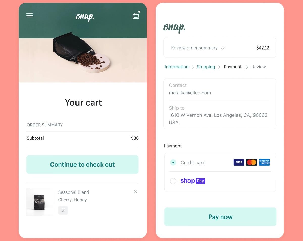 Shopify checkout on mobile screen