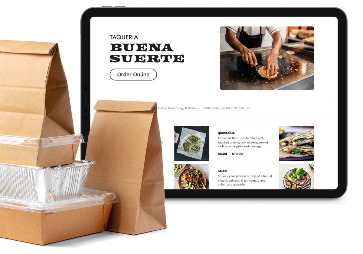 Square online ordering page