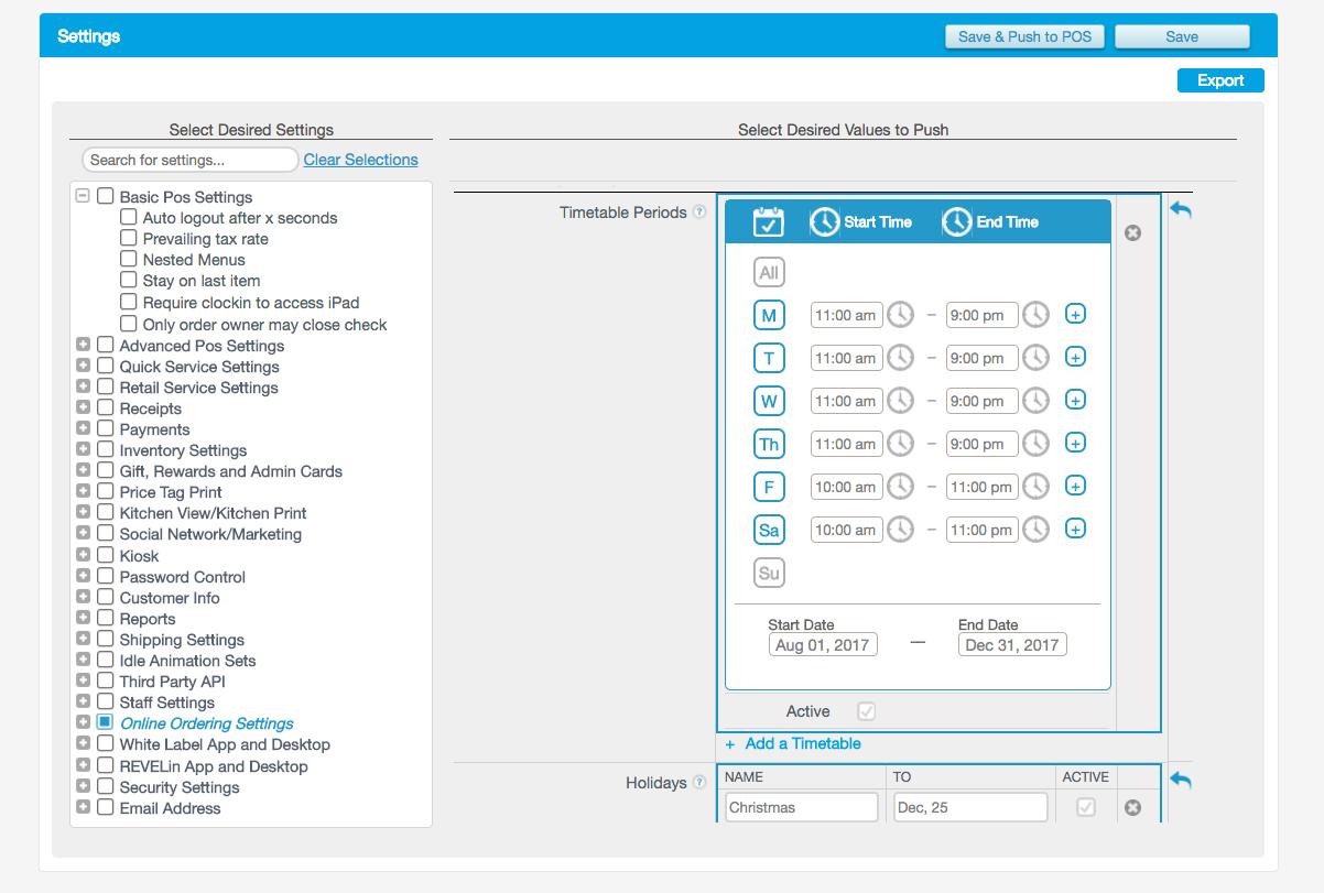Revel POS online ordering settings