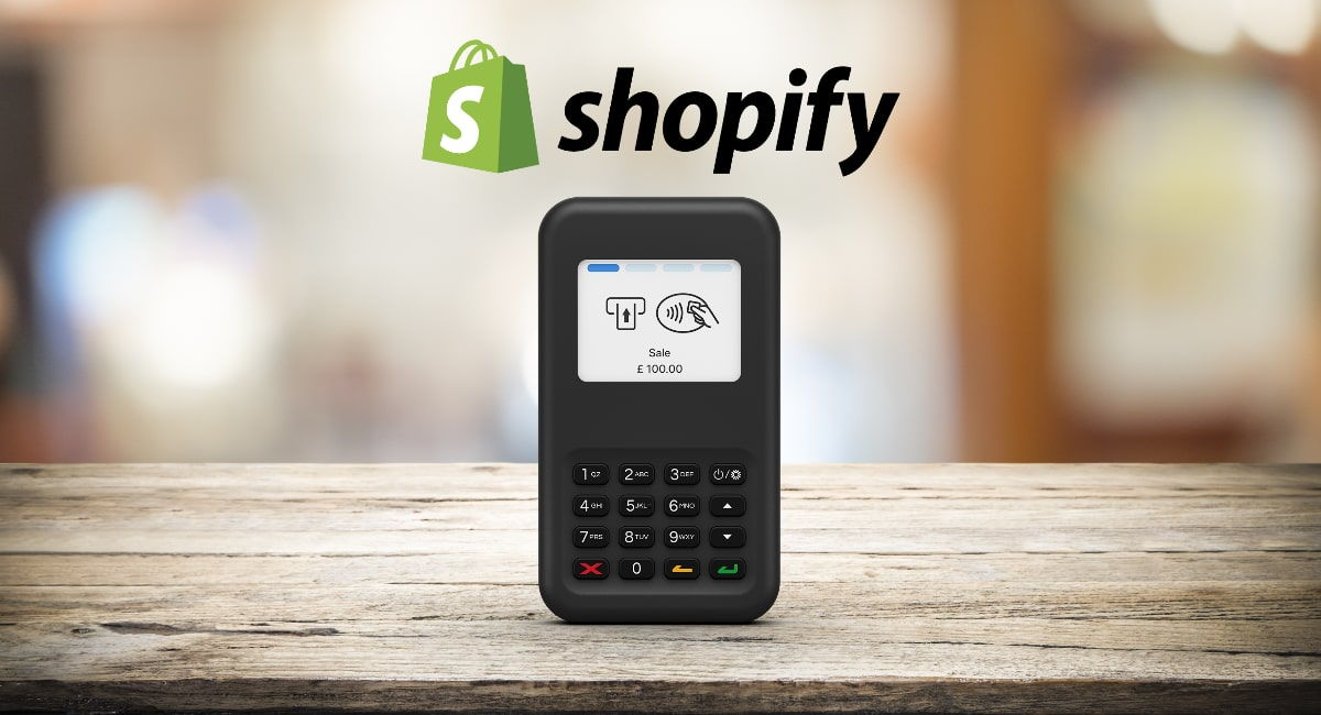 Shopify card reader on table