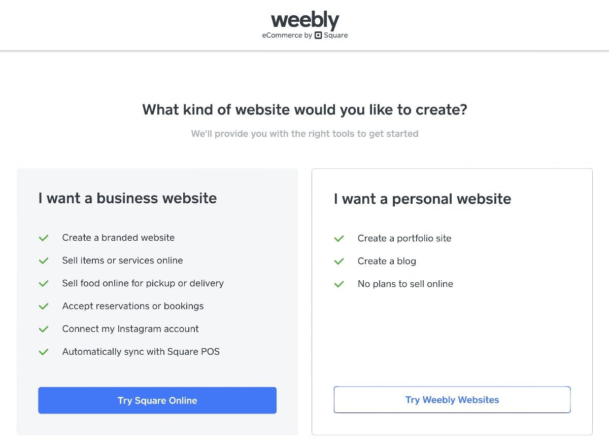Weebly sign-up