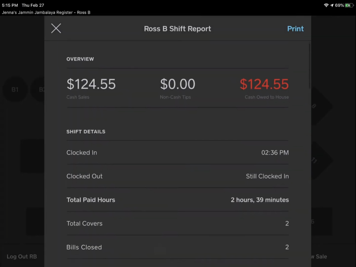 Square Restaurant POS shift report