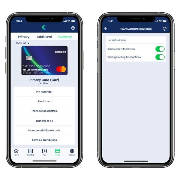 Cashplus app card controls