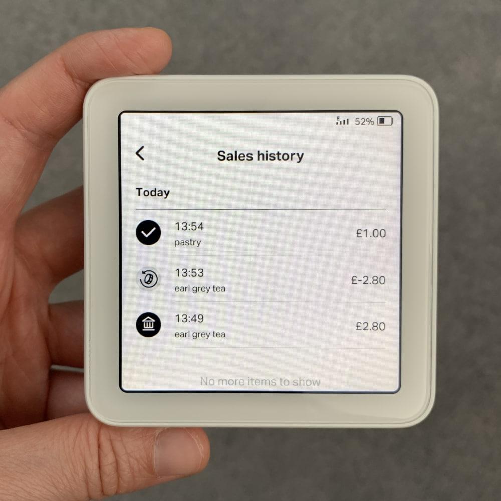 SumUp Solo sales history