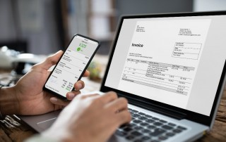 Person using invoicing software