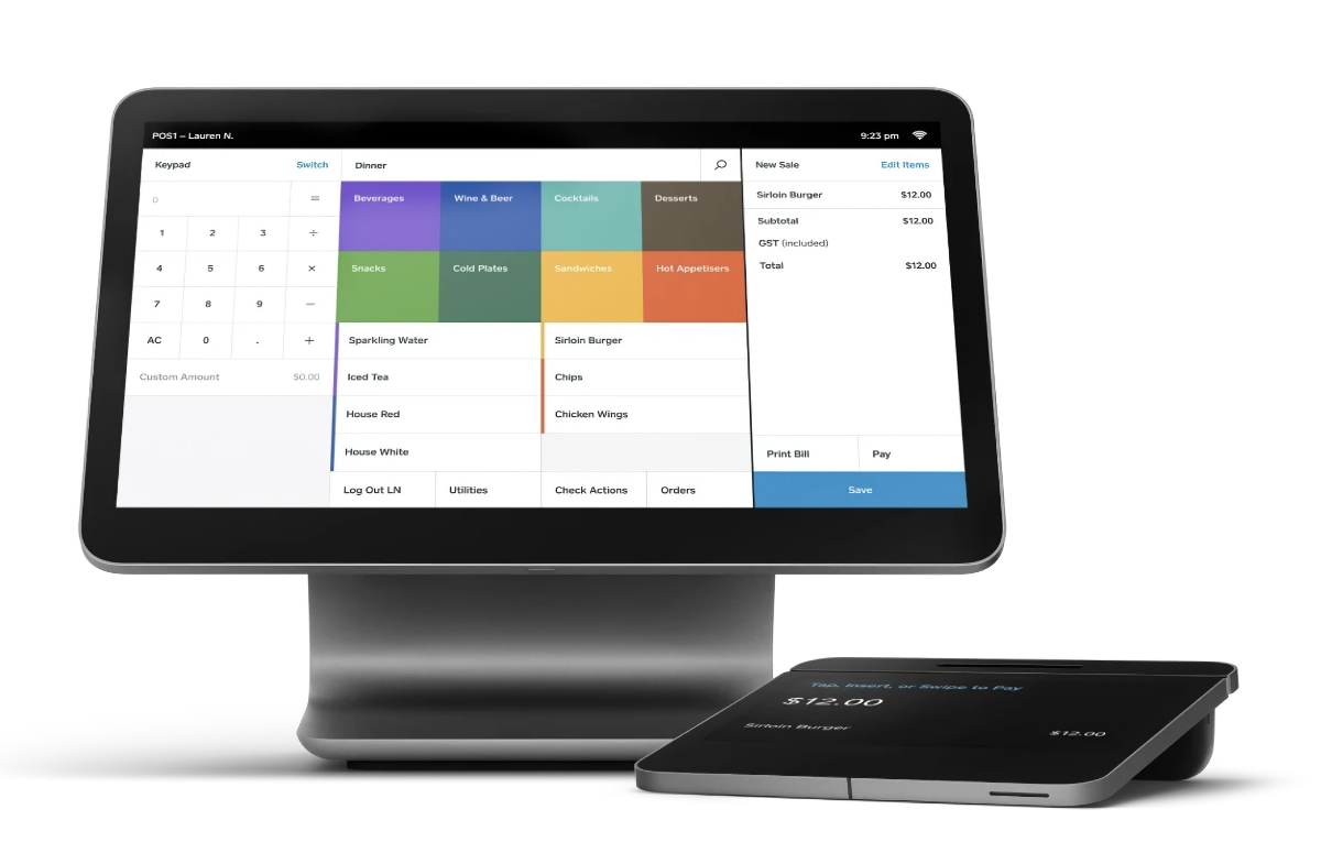Square Register hardware with Restaurant POS software visible on touchscreen