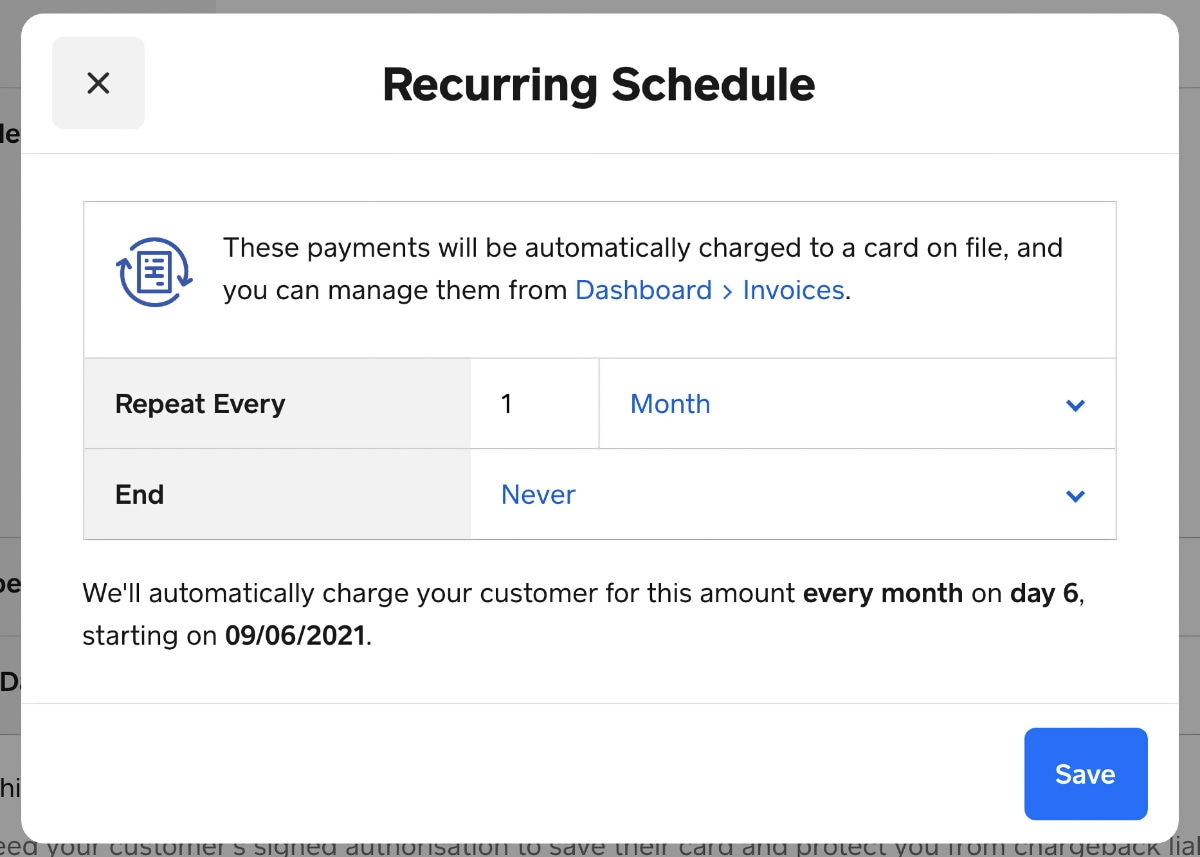 Square Virtual Terminal recurring payment schedule